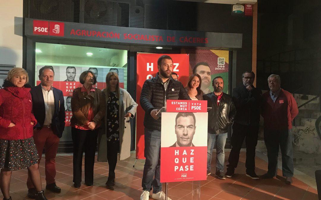 El PSOE cierra campaña en Cáceres con un acto en el que la ciudadanía toma la palabra.